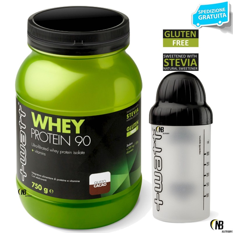 +WATT WHEY PROTEIN 90 750gr PROTEINE DEL SIERO DEL LATTE ISOLATE VOLAC + SHAKER in vendita su Nutribay.it