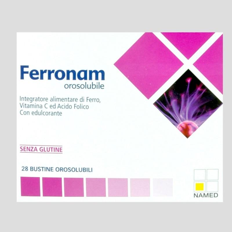 Named Sport Ferronam 28 Buste Ferro Vitamina C e Acido Folico in vendita su Nutribay.it