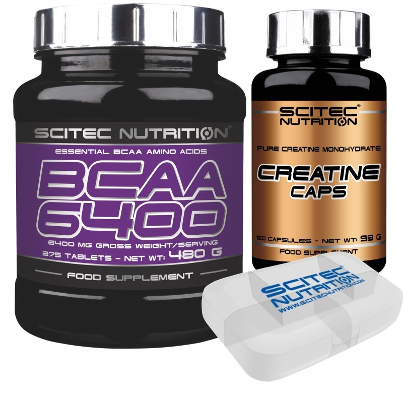SCITEC NUTRITION Bcaa 6400 375 cpr Aminoacidi Ramificati + 120 cps Creatina Caps in vendita su Nutribay.it