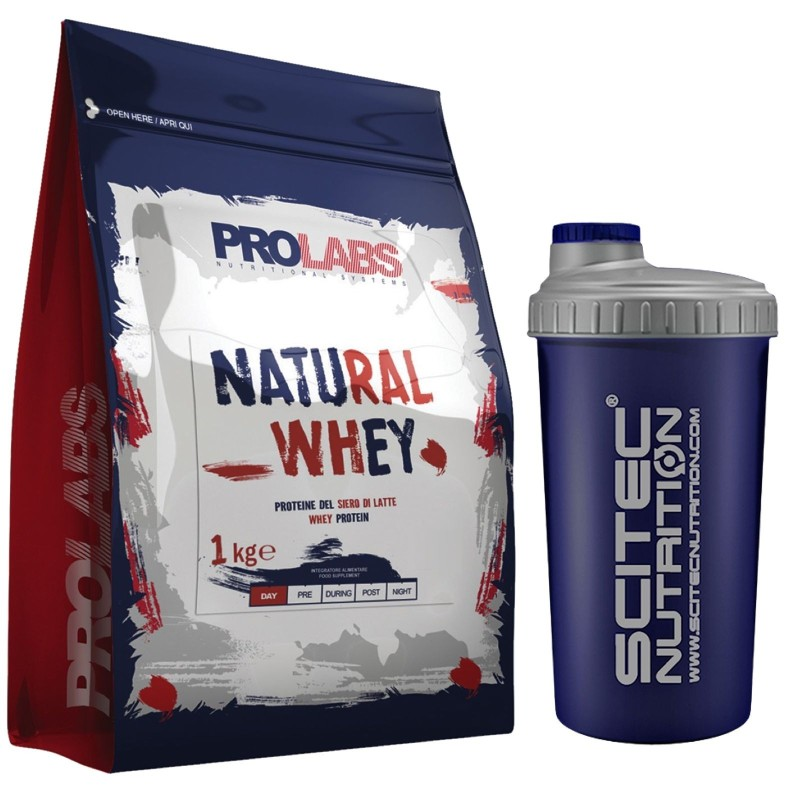 PROLABS Natural Whey 1 kg Proteine Siero del Latte Gusto Neutro + SHAKER SCITEC in vendita su Nutribay.it