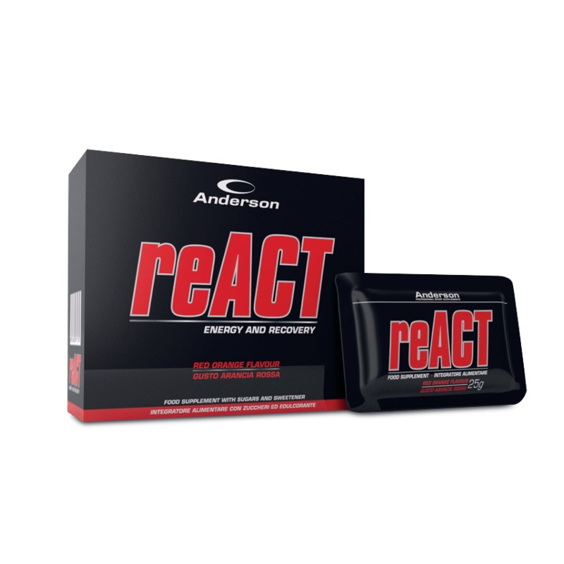 ANDERSON React Energetico con Vitargo Carnitina Magnesio Potassio Ferro Vitamine in vendita su Nutribay.it