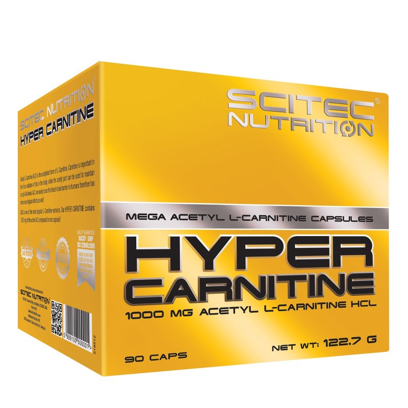 SCITEC HYPER CARNITINE 90 cps. 1000mg Acetil L-Carnitina Cloridrato Bruciagrassi in vendita su Nutribay.it