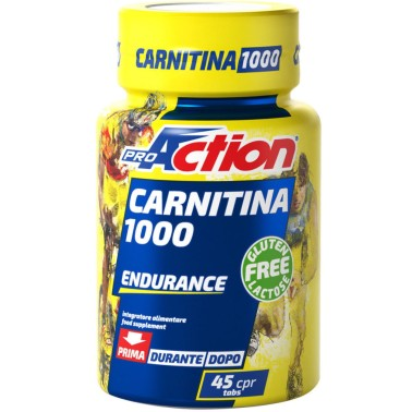 Proaction Carnitina 1000 45 Cpr. L-Carnitina da 1 grammo con Vitamina E CARNITINA in vendita su Nutribay.it