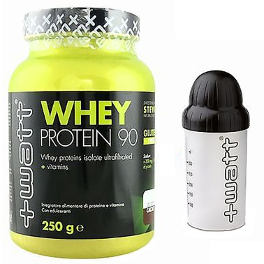 +WATT PROTEINE DEL SIERO DEL LATTE ISOLATE WHEY PROTEIN 90 250gr. ALTI BCAA - PROTEINE in vendita su Nutribay.it