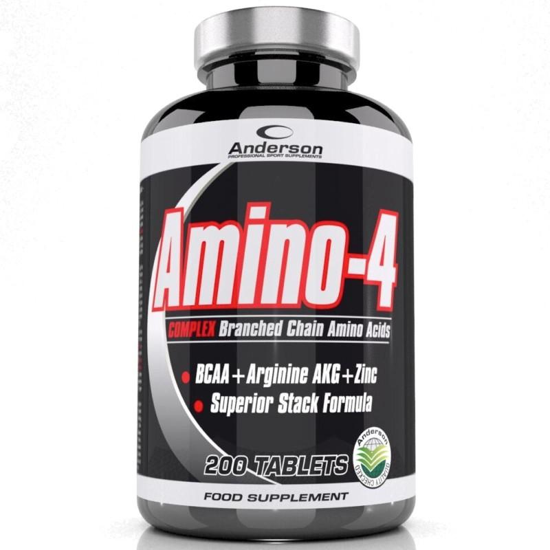 ANDERSON Amino-4 200 c. BCAA aminoacidi ramificati con Arginina AKG Zinco Vit B6 - AMINOACIDI BCAA in vendita su Nutribay.it