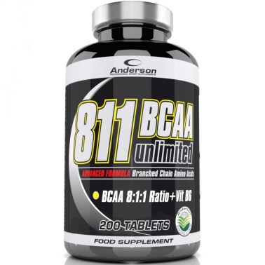 ANDERSON 811 Bcaa unlimited 200 cpr. Aminoacidi ramificati 8:1:1 + Vitamina b6 AMINOACIDI BCAA 8.1.1 in vendita su Nutribay.it