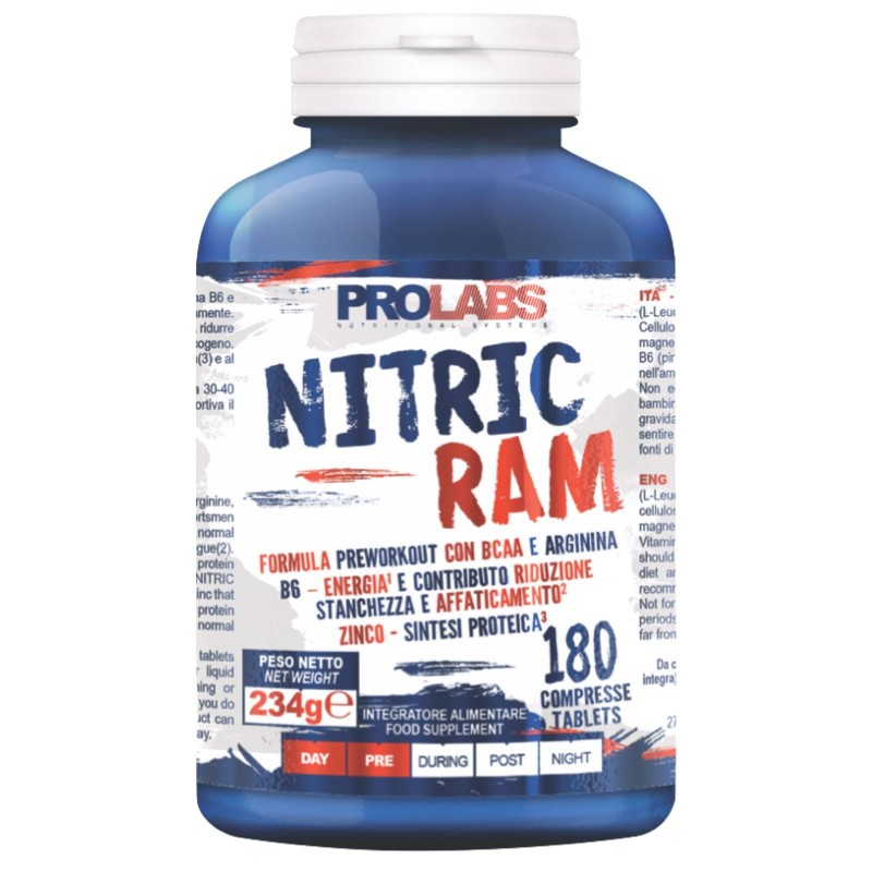 Prolabs Nitric Ram 180 cpr. Ossido Nitrico Arginina Kyowa + Bcaa + Zinco e B6 in vendita su Nutribay.it