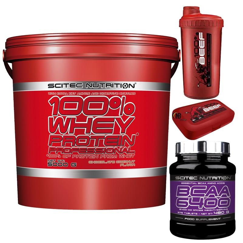 SCITEC Whey Protein Professional 5 kg Proteine Siero + 375 Aminoacidi Bcaa 6400 - PROTEINE in vendita su Nutribay.it