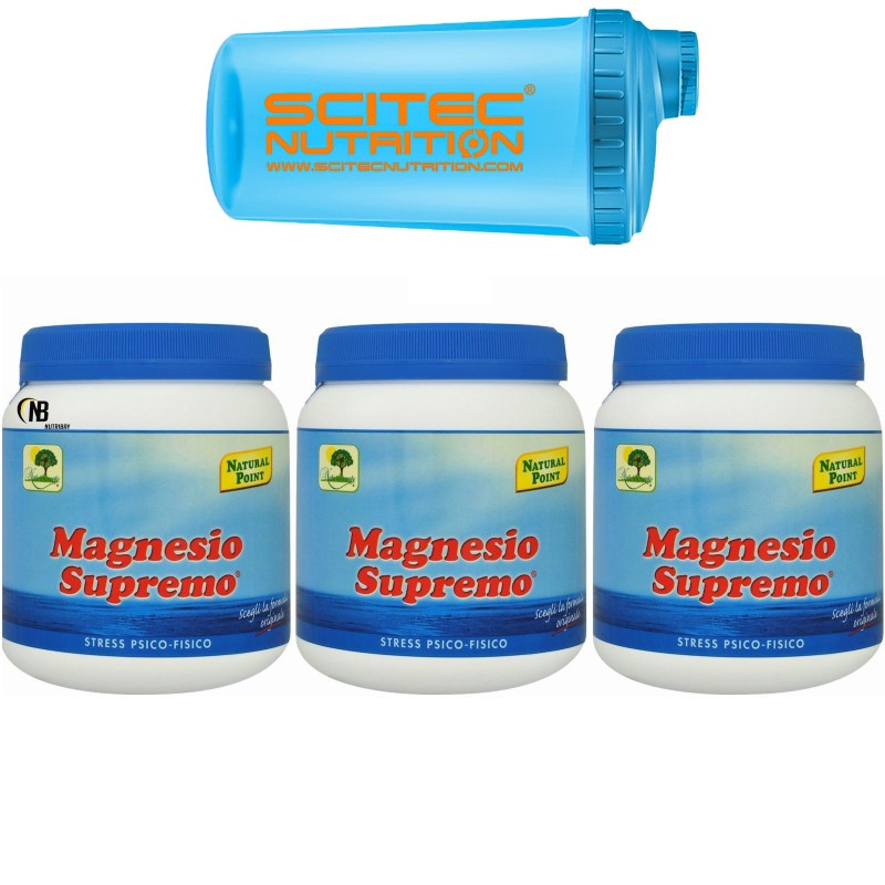 Magnesio Supremo NATURAL POINT 3 X 300 gr 900 Mag Citrato e Carbonato + SHAKER - BENESSERE-SALUTE in vendita su Nutribay.it