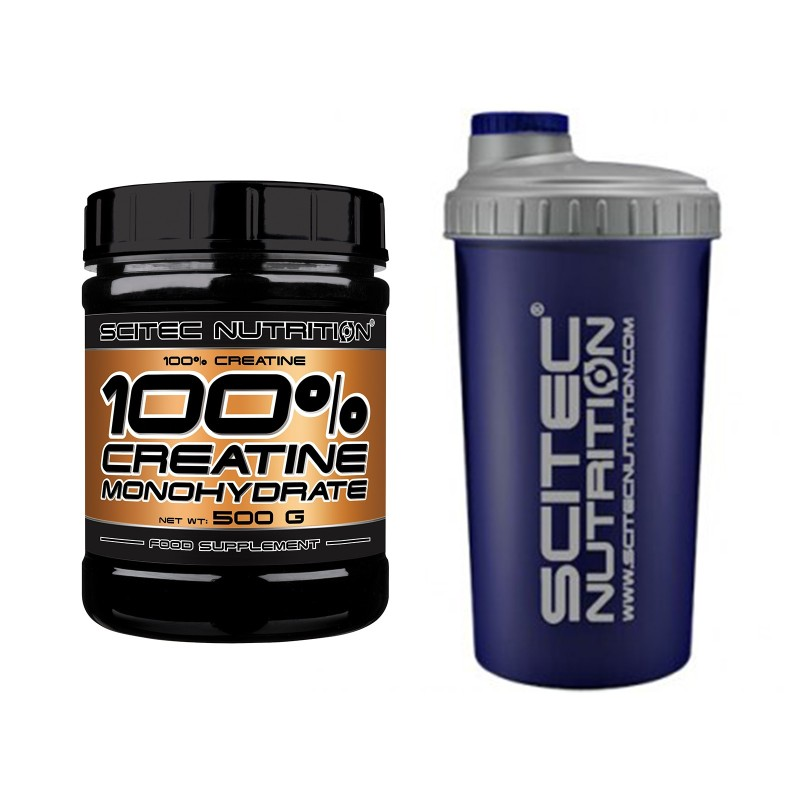 SCITEC NUTRITION 100% Creatine 500 gr. Creatina Monoidrato in Polvere + SHAKER - CREATINA in vendita su Nutribay.it