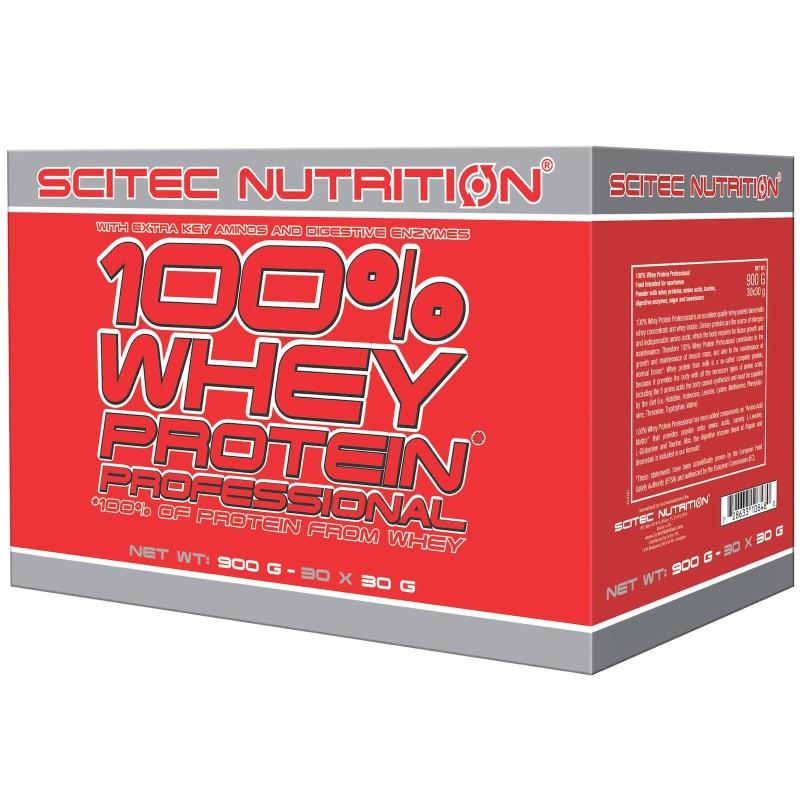 Scitec 100% Whey Protein Professional 30 Buste Monodose da 30 gr. Proteine Siero del Latte in vendita su Nutribay.it