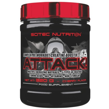 SCITEC ATTACK 2.0 320 gr AMINOACIDI + CREATINA ARGININA AKG GLUTAMMINA - PRE ALLENAMENTO in vendita su Nutribay.it