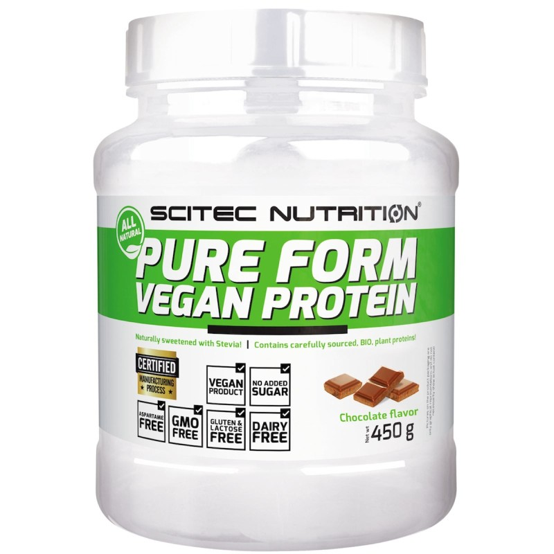 Scitec Pure Form Vegan 450 gr 5 Proteine Vegetali Biologiche Riso Pisello Zucca in vendita su Nutribay.it