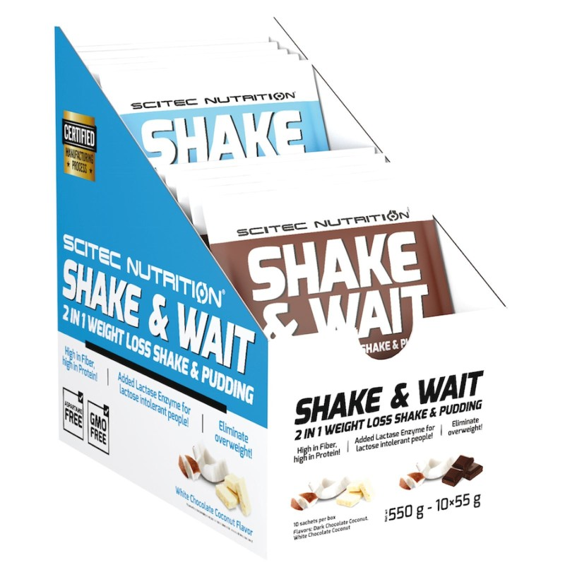 Scitec Shake and Wait 10 Buste da 50 gr. Budino per Perdita di Peso Carnitina in vendita su Nutribay.it