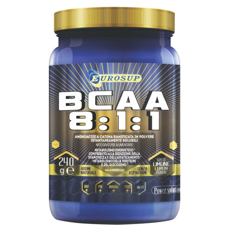 Eurosup BCAA 8:1:1 240 gr. Aminoacidi Ramificati 811 in Polvere con Vitamine - AMINOACIDI BCAA 8.1.1 in vendita su Nutribay.it