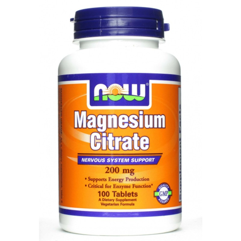 NOW FOODS Magnesium Citrate 200 mg. 100 cpr. Puro Magnesio Citrato in Compresse in vendita su Nutribay.it