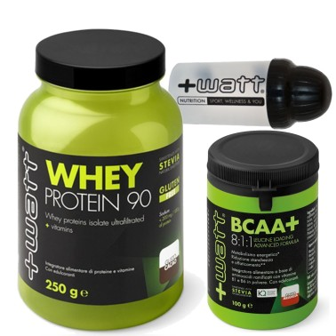 +WATT Whey 90 Proteine Siero del Latte Isolate + Aminoacidi 811 Kyowa + Shaker in vendita su Nutribay.it