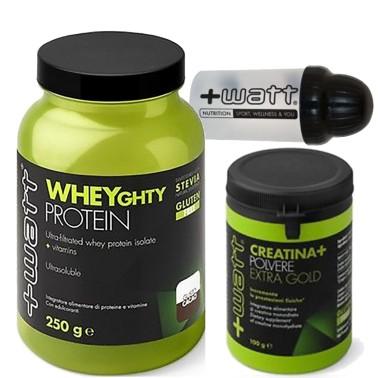 +WATT Wheyghty Proteine Del Siero Del Latte Isolate 750gr + 100gr Creatina Extra in vendita su Nutribay.it
