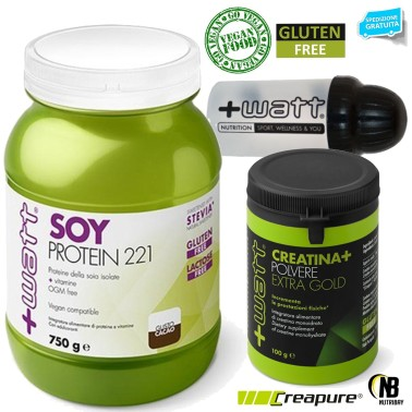 +WATT SOY PROTEINE 221 ISOLATE SOIA no OGM e LATTOSIO + Creatina Extra + Shaker - PROTEINE in vendita su Nutribay.it