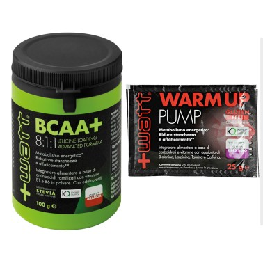 +WATT BCAA+ AMINOACIDI RAMIFICATI POLVERE 8:1:1 KYOWA 100gr 811 + WARM UP PUMP in vendita su Nutribay.it