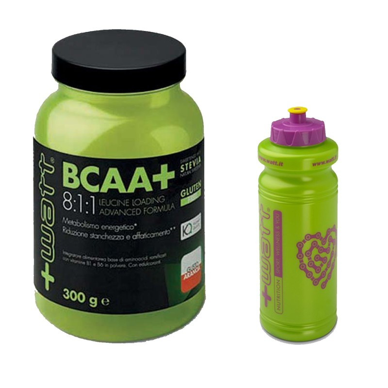 +WATT Aminoacidi Ramificati BCAA+ 8:1:1 KYOWA 300gr. 811 + VITAMINE E BORRACCIA in vendita su Nutribay.it