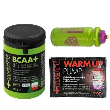 +WATT Aminoacidi Ramificati BCAA+ 8:1:1 811 KYOWA 100gr con Vitamine + Borraccia