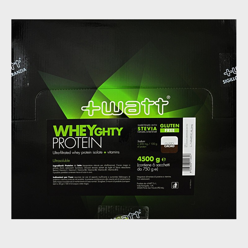 +WATT Wheyghty 6x750 gr 4,5 kg Proteine Del Siero Del Latte Isolate + Vitamine in vendita su Nutribay.it