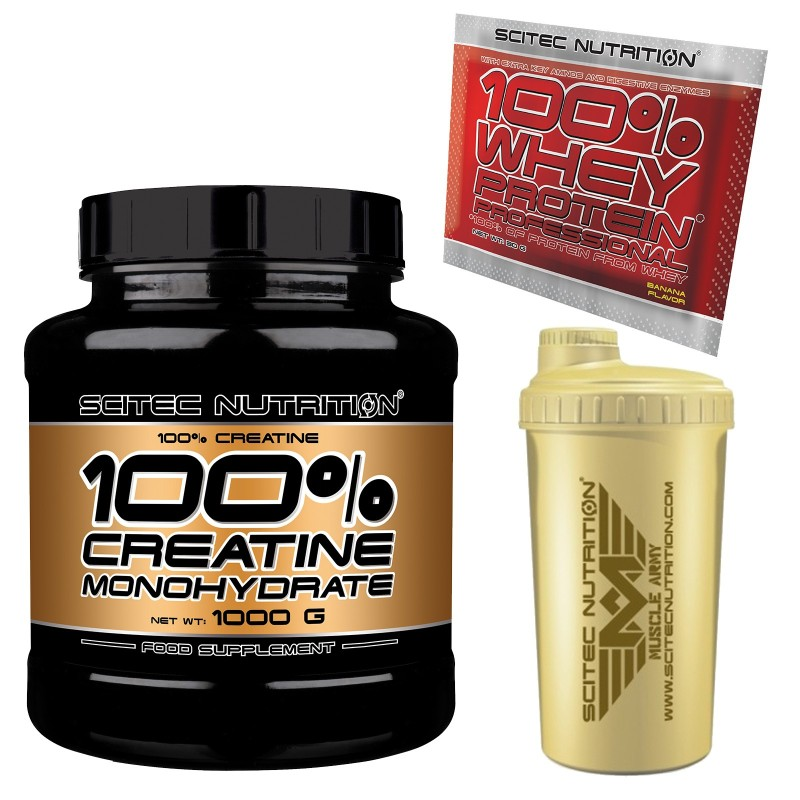 SCITEC NUTRITION 100% Creatine 1000 gr. 1kg Creatina Monoidrato Polvere + SHAKER in vendita su Nutribay.it