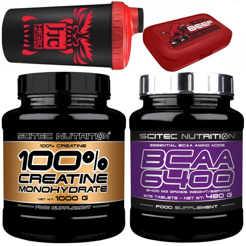 SCITEC Creatina da 1 Kg + 375 bcaa 6400 Aminoacidi Ramificati + Shaker e Pillbox in vendita su Nutribay.it