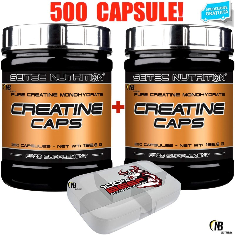 SCITEC NUTRITION Creatine Caps 500 Capsule di Pura Creatina Monoidrato + Omaggio - CREATINA - in vendita su Nutribay.it