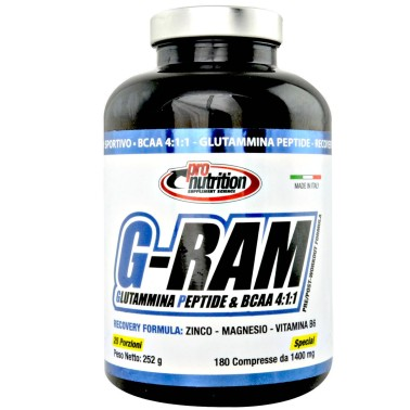 Pronutrition G-Ram 180 cpr. BCAA 4:1:1 con Zmb6 e Glutammina Peptide in vendita su Nutribay.it