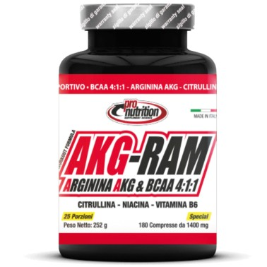 Pronutrition Akg-ram 180 cps Bcaa 4:1:1 Arginina AKG Citrullina Niacina e b6 in vendita su Nutribay.it