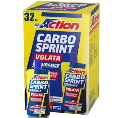 Proaction Carbo Sprint Volata 32 gel da 50ml Carboidrati Vitamine e Carnitina in vendita su Nutribay.it