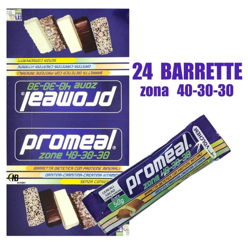 Volchem Promeal 24 Barrette Proteiche da 50 gr. per Dieta a Zona 40-30-30 in vendita su Nutribay.it