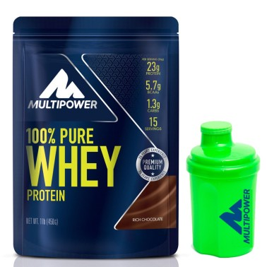 MULTIPOWER 100% Pure Whey Protein 450 gr Proteine Siero del Latte + MINI Shaker PROTEINE in vendita su Nutribay.it