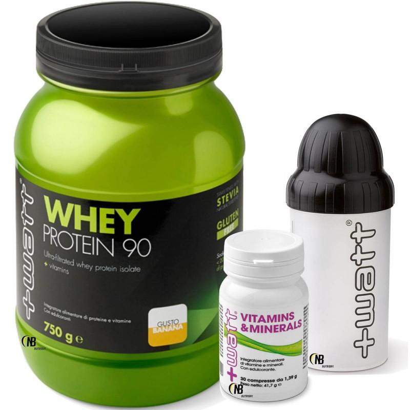 +Watt Whey 90 750 gr. Proteine Siero Isolate + Vitamins Minerals 30 cpr Vitamine + SHAKER in vendita su Nutribay.it