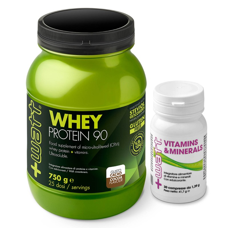 +Watt Whey Protein 90 750 gr. Proteine Siero Isolate + Vitamins Minerals 30 cpr Vitamine in vendita su Nutribay.it