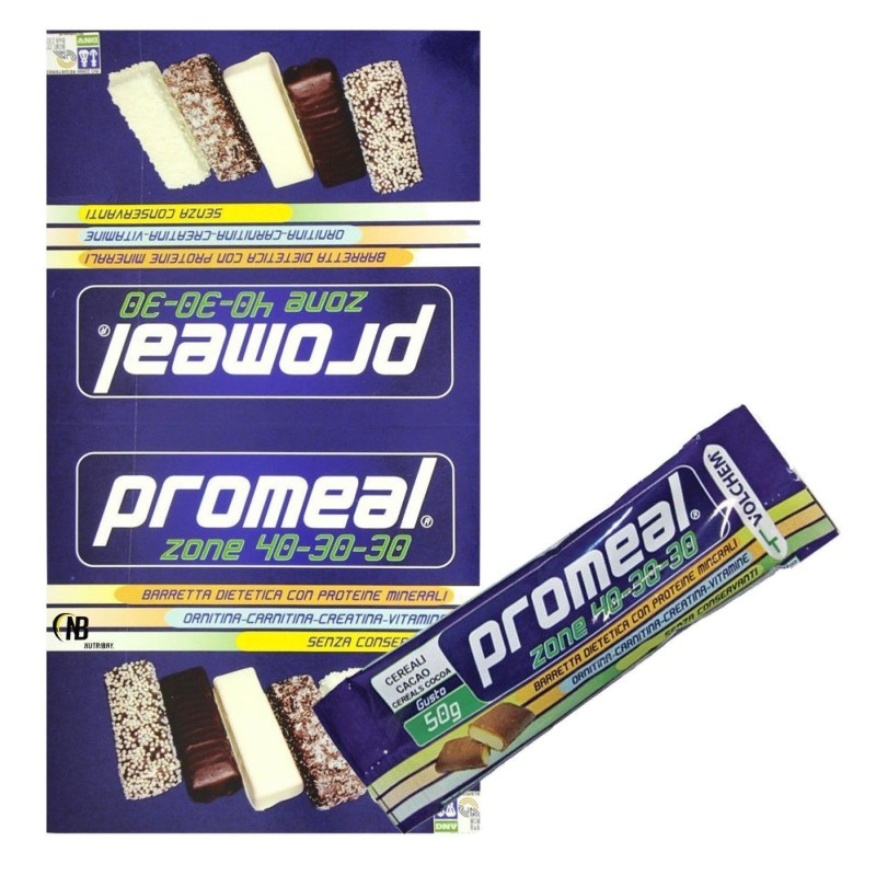 Volchem Promeal 12 Barrette Proteiche da 50 gr. per Dieta a Zona 40-30-30 in vendita su Nutribay.it