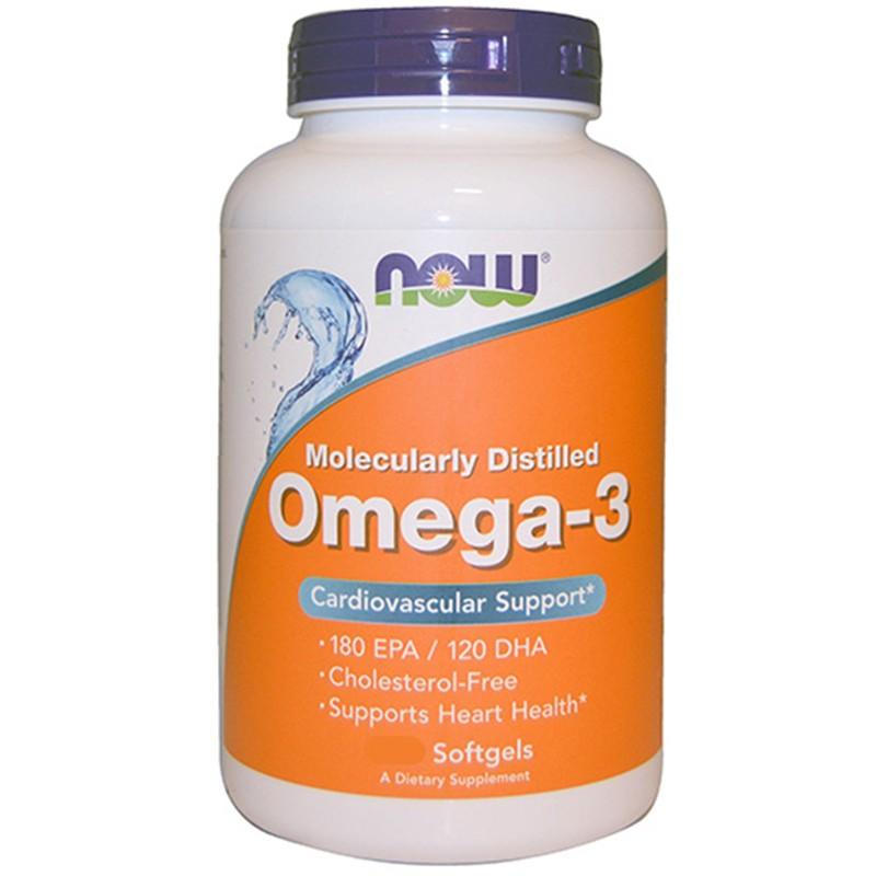 NOW FOODS Omega 3 200 Perle Olio DI Pesce EPA DHA no COLESTEROLO salute cuore in vendita su Nutribay.it