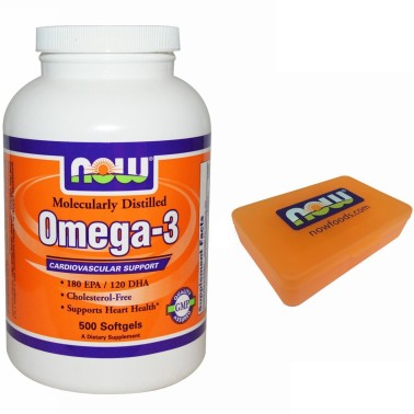 NOW FOODS Omega 3 500 Softgels Olio DI Pesce EPA DHA no COLESTEROLO salute cuore in vendita su Nutribay.it
