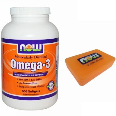 NOW FOODS Omega 3 500 Softgels Olio DI Pesce EPA DHA no COLESTEROLO salute cuore in vendita su Nutribay.it