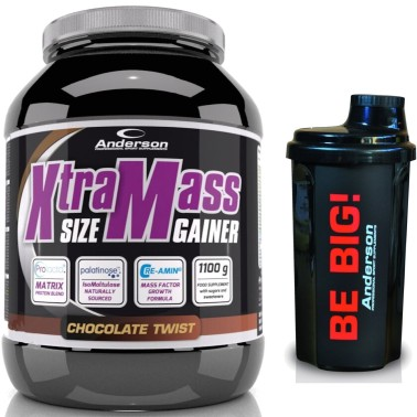 Anderson Xtra Mass 1100 gr Gainer di Proteine Whey Creatina Tribulus + SHAKER in vendita su Nutribay.it
