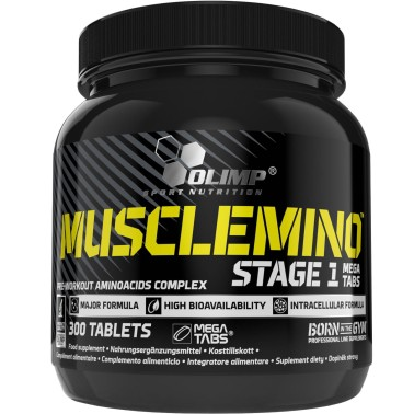 OLIMP Musclemino Stage 1 300 Mega Tabs Aminoacidi Pre Workout - PRE ALLENAMENTO in vendita su Nutribay.it