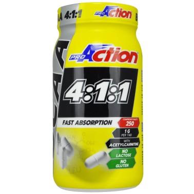 PROACTION BCAA 4:1:1 250 cpr Aminoacidi Ramificati 411 con carnitina in vendita su Nutribay.it