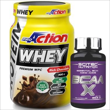 PROACTION Whey 900 gr Proteine del siero del latte + 120 Aminoacidi scitec - PROTEINE - in vendita su Nutribay.it
