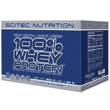 SCITEC NUTRITION 100% Whey Protein - 30 Buste Monodose da 30 gr. Proteine Siero del Latte in vendita su Nutribay.it