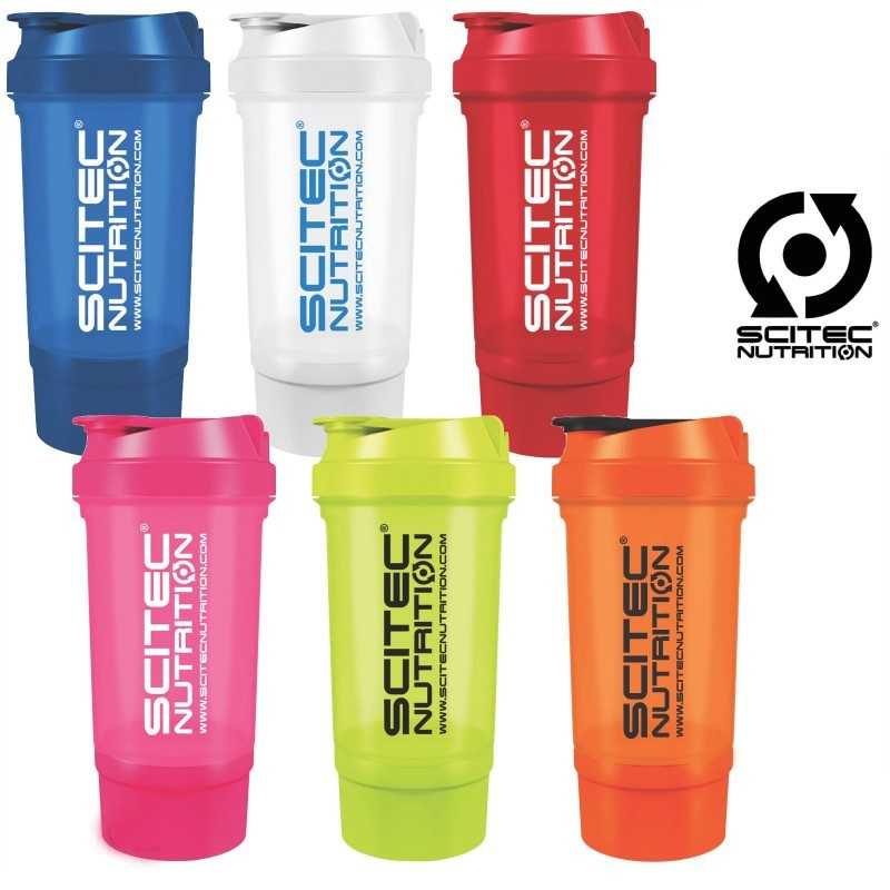 SCITEC NUTRITION SHAKER PER INTEGRATORI CON 2 SCOMPARTI in vendita su Nutribay.it