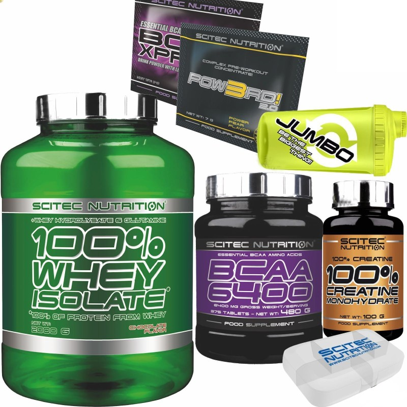 SCITEC 100% Whey Isolate 2000gr 2kg Proteine +375 AMINOACIDI BCAA 6400+ CREATINA in vendita su Nutribay.it