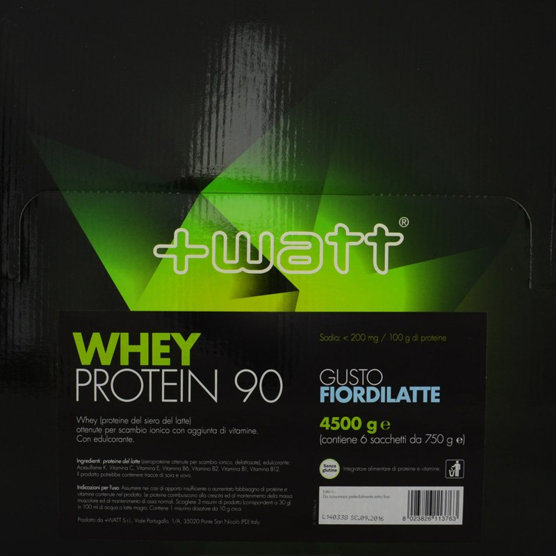 +WATT WHEY PROTEIN 90 4,5 kg PROTEINE DEL SIERO DEL LATTE ISOLATE + VITAMINE in vendita su Nutribay.it