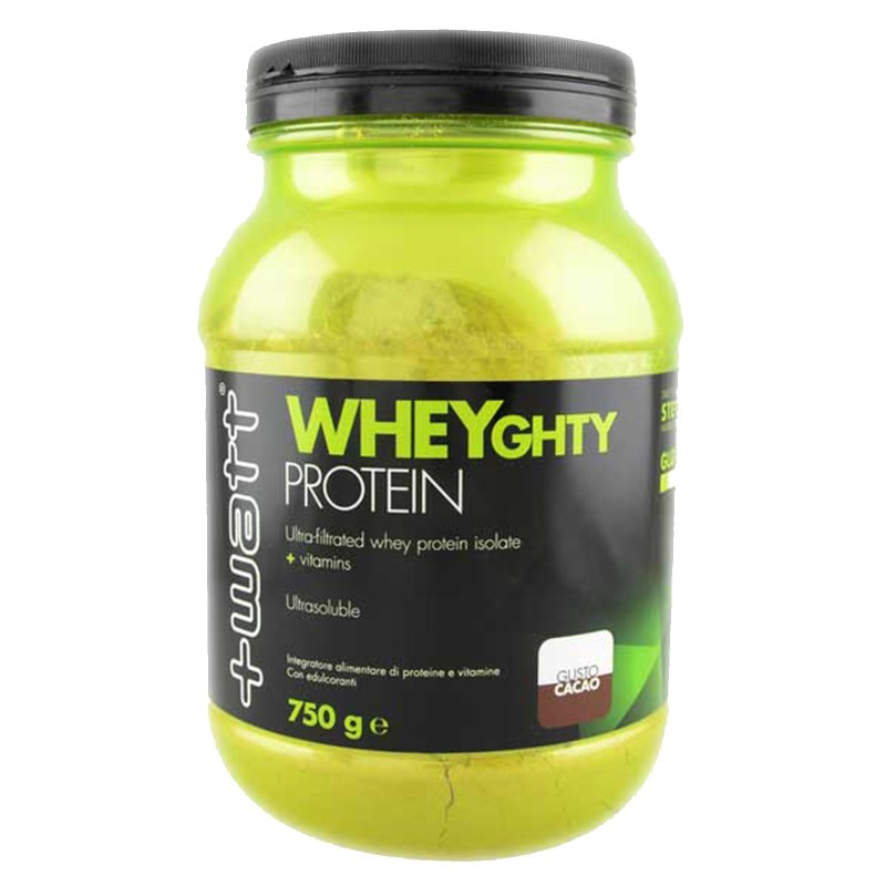 +Watt Wheyghty proteine 750gr whey isolate ultrafiltrate con vitamine e bcaa in vendita su Nutribay.it